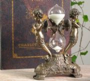 Stunning Bronze Effect Sand Timer with Cherubs Baroque Style